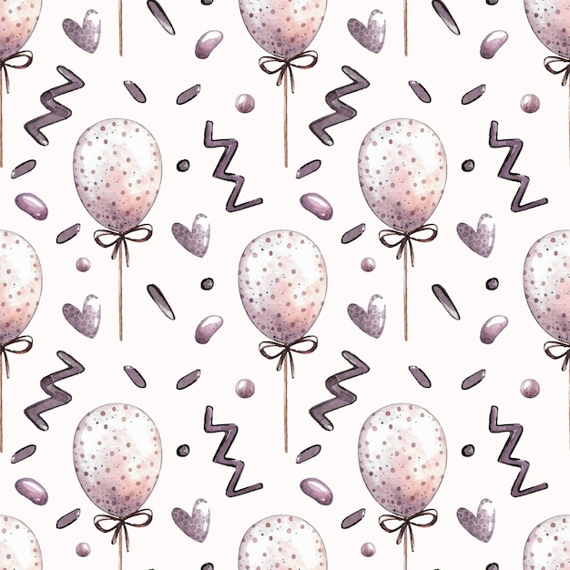 Watercolor vector seamless pattern with balloons Premium Vector