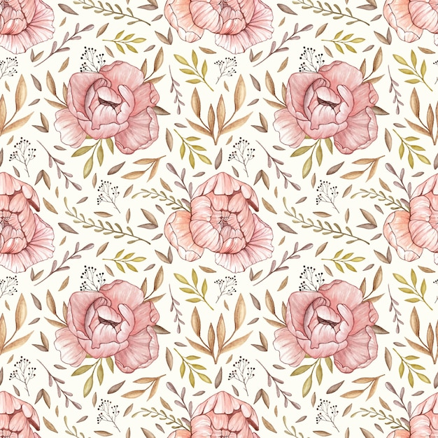 Watercolor vector seamless pattern with pastel peonies, forest leaves and berries in vinta Premium Vector