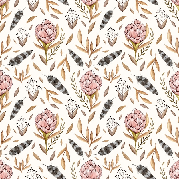 Watercolor vector seamless pattern with peonies, forest leaves, berries, feathers in vinta Premium Vector