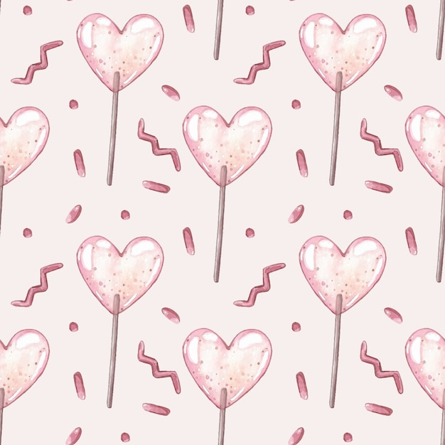 Watercolor vector seamless pattern with pink lollipops. Premium Vector