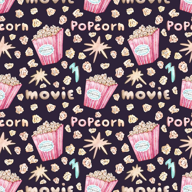 Watercolor vector seamless pattern with popcorn bucket Premium Vector