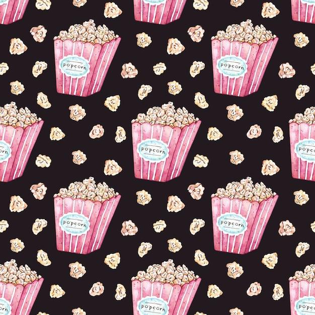 Watercolor vector seamless pattern with popcorn bucket. Premium Vector