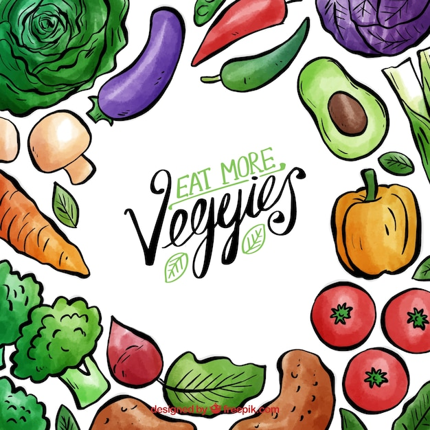 Watercolor vegan food frame Free Vector