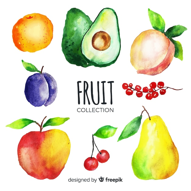 Watercolor vegetable and fruits background Free Vector