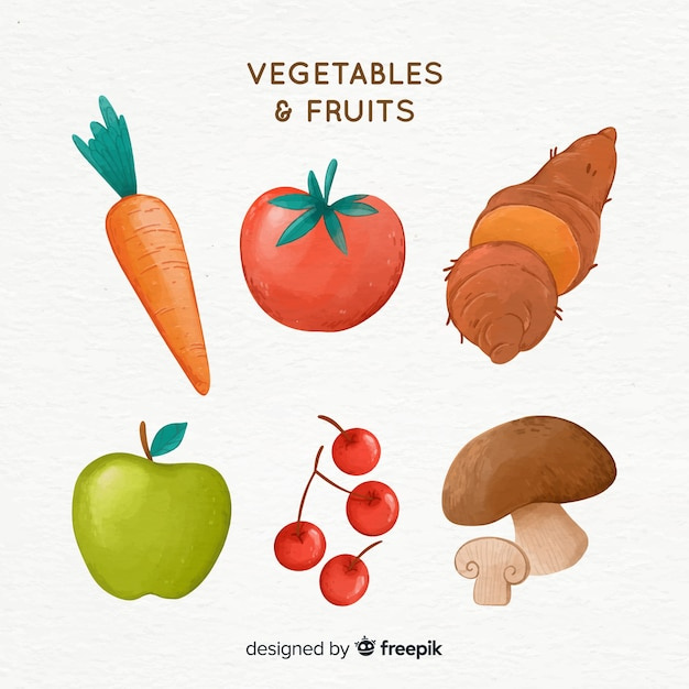 Watercolor vegetables and fruits background Free Vector