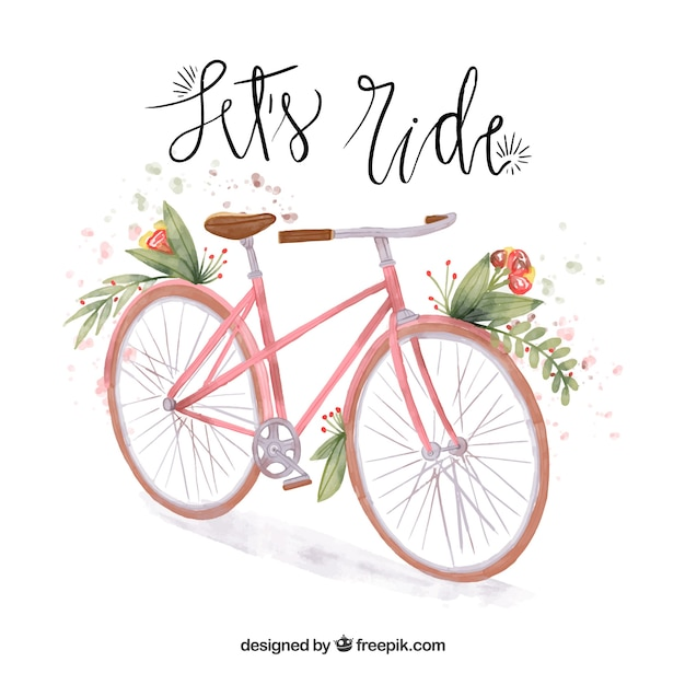 Watercolor vintage bicycle background
