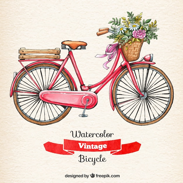 Watercolor vintage bicycle Premium Vector