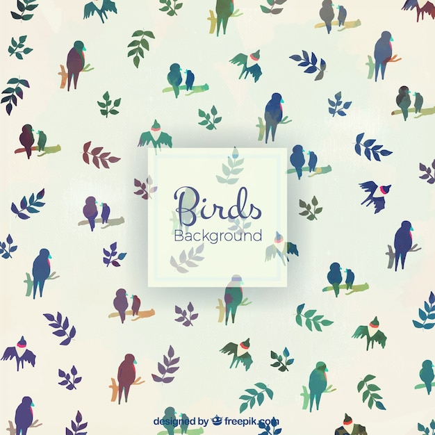 Watercolor vintage cute birds background