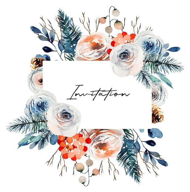 흰색과 분홍색 장미, 전나무 가지와 붉은 열매와 수채화 빈티지 꽃 프레임 프리미엄 벡터
