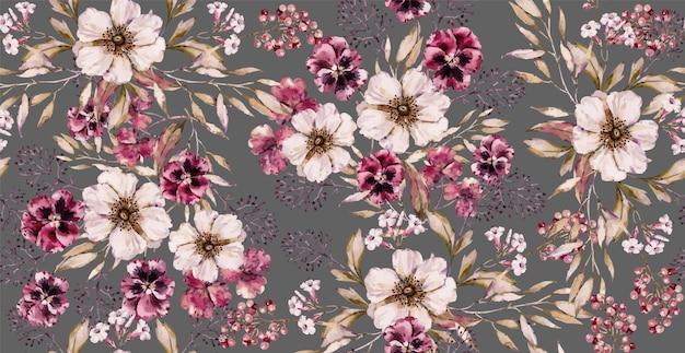 럭셔리 그레이 프린트에 수채화 빈티지 꽃 원활한 패턴입니다. 손으로 그리는 수채화 꽃 패턴입니다. 프리미엄 벡터