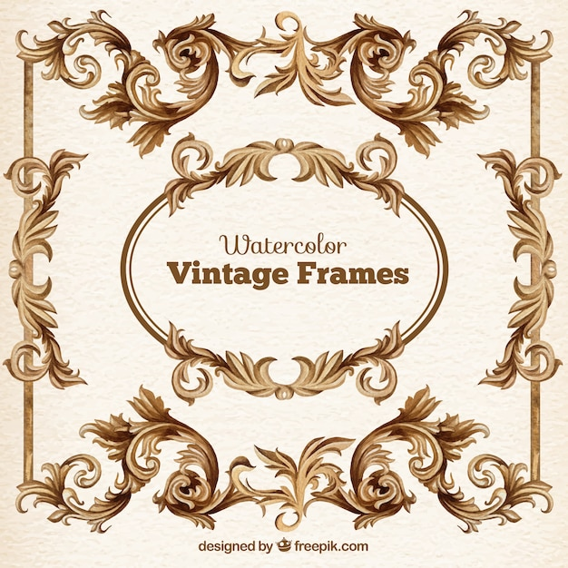 Watercolor vintage frames pack