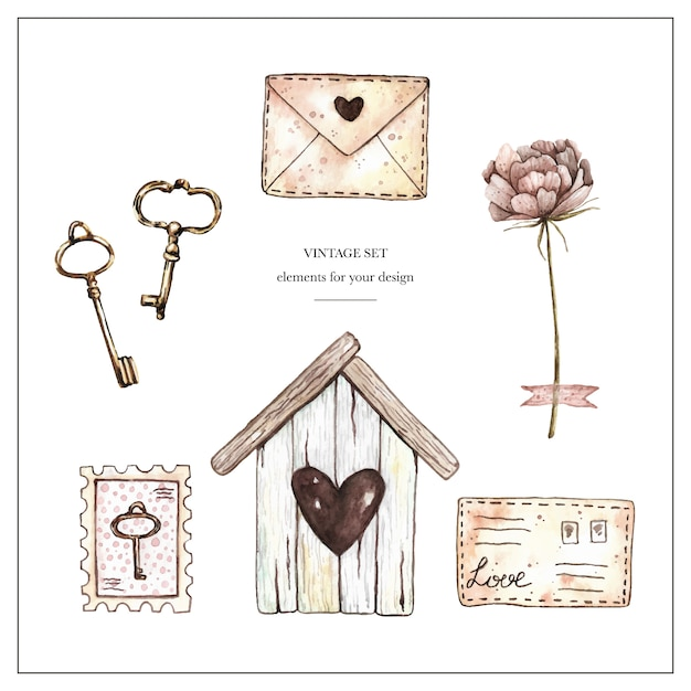 Watercolor vintage set with birdhouse, stamps, letters, peony and keys. Premium Vector