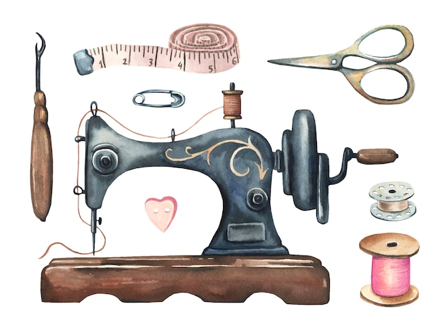 Watercolor vintage sewing set. Premium Vector