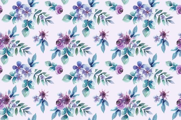 水彩の紫の花のシームレスパターン Premiumベクター