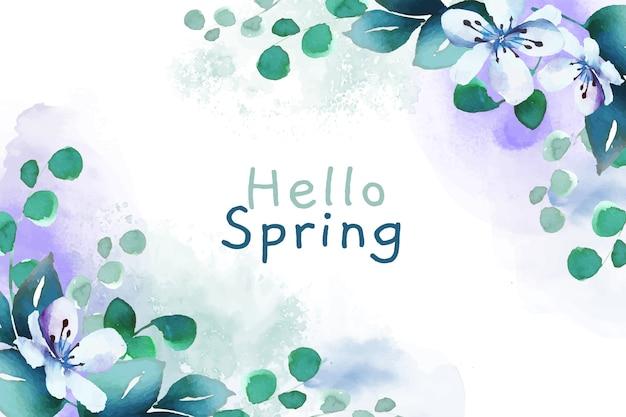 Watercolor wallpaper hello spring Free Vector