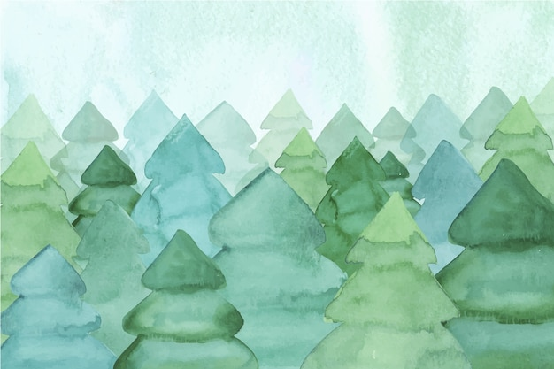 Watercolor wallpaper with fir trees Free Vector