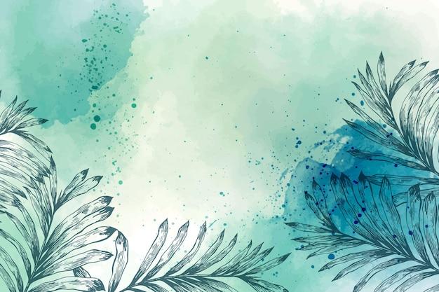 手描きの要素と水彩の壁紙 無料ベクター