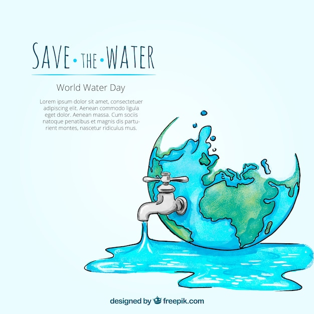 Watercolor water world day background with hand drawn tap Free Vector