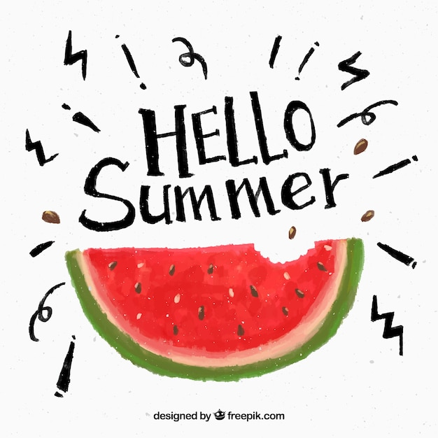 Watercolor watermelon summer background Free Vector
