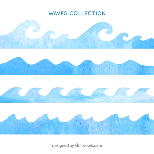 Watercolor waves collection