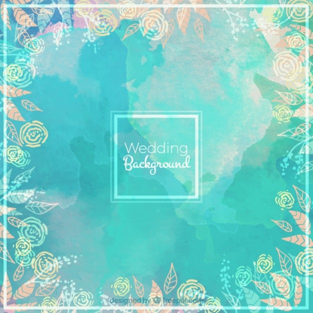 Watercolor wedding background with a floral frame  Free Vector