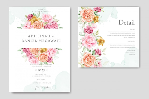 Watercolor wedding card set template with beautiful floral and leaves Premium Vector