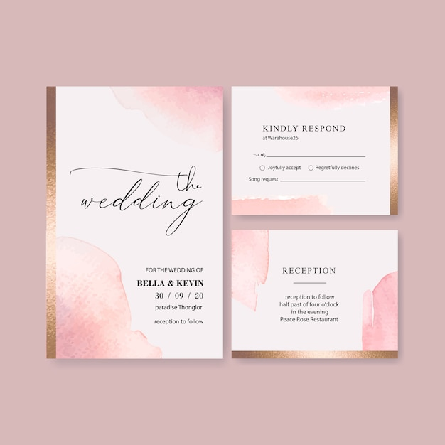 Watercolor wedding card template with brushstrokes Free Vector