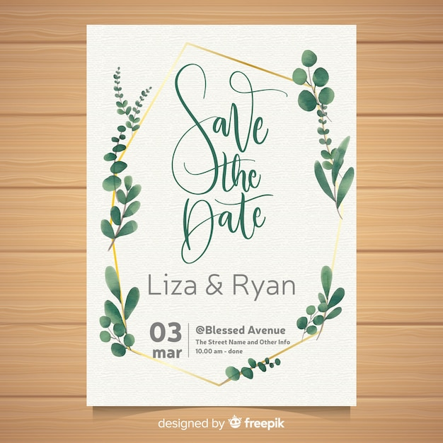 Watercolor wedding card template Free Vector