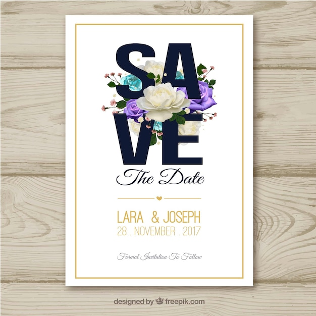Watercolor wedding card with colorful roses