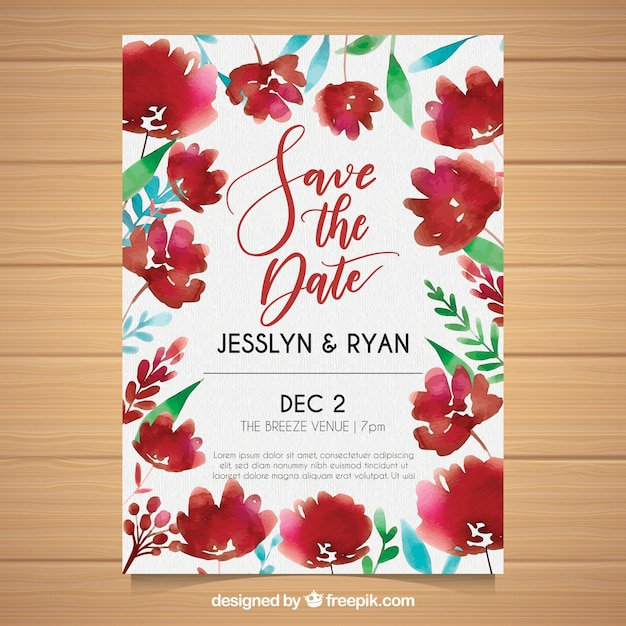 Watercolor wedding card with cute\ flowers