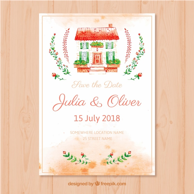 Watercolor Wedding Card With Lovely House Free Vector