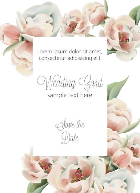 Акварельная свадебная открытка с бледно-розовыми пионами и местом для текста Бесплатные векторы