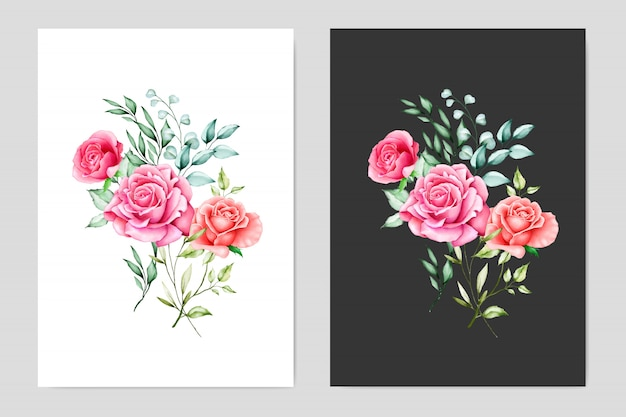 Watercolor wedding cards with floral frame Premium Vector