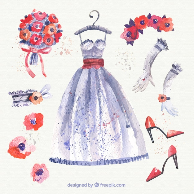 Watercolor Wedding Dress And Accessories Vector Free