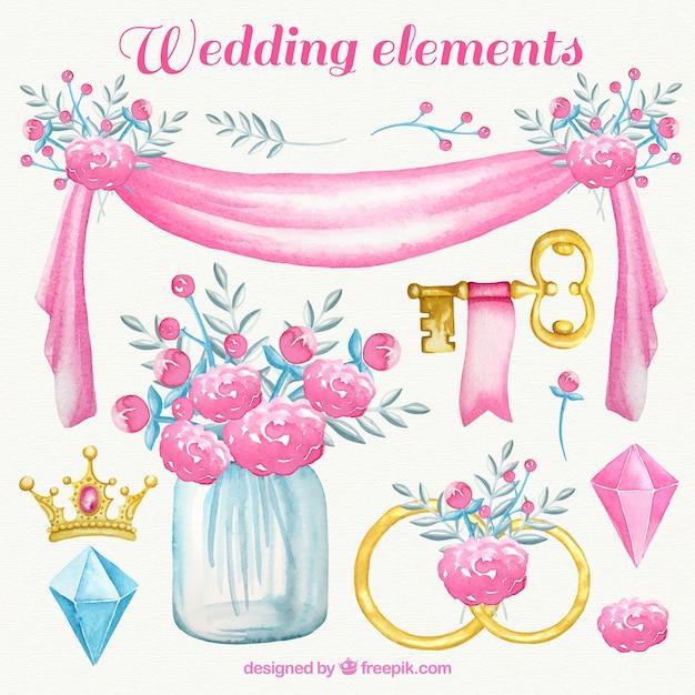 watercolor wedding elements in pink tones vector free download