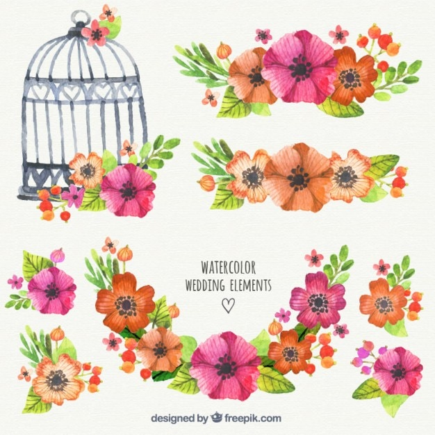 Watercolor Wedding Elements Vector