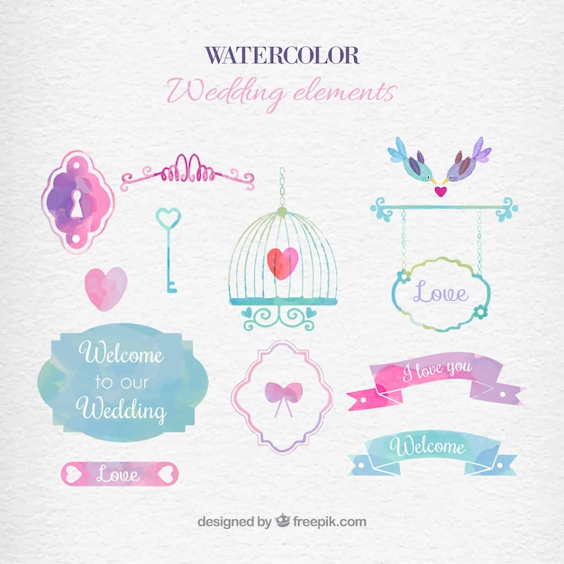 Watercolor wedding elements vector free download watercolor wedding elements free vector stopboris Choice Image