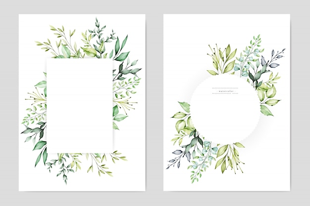 Watercolor wedding floral frame multi purpose background Premium Vector