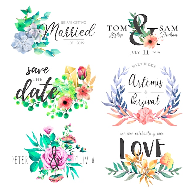 watercolor wedding frame collection vector free download