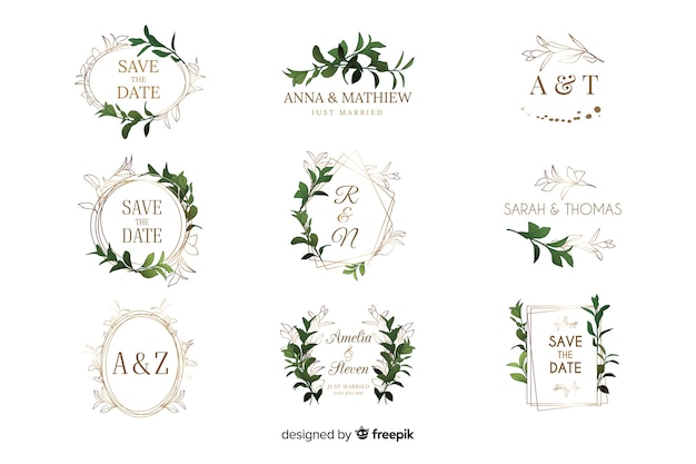 Watercolor wedding frame logos collection Free Vector