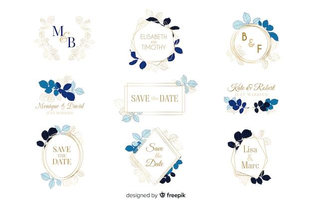Watercolor wedding frame logos collection Free Vector