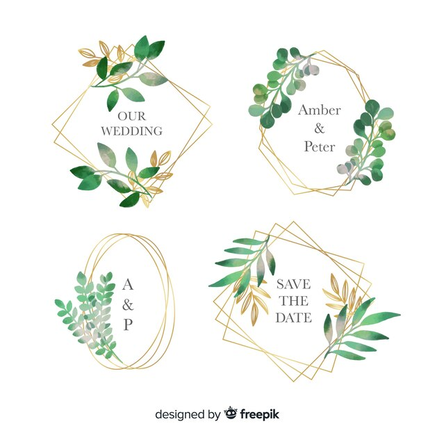 Watercolor wedding frame logos set Free Vector