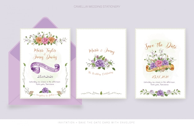 Watercolor wedding invitation card and save the date card Premium Vector