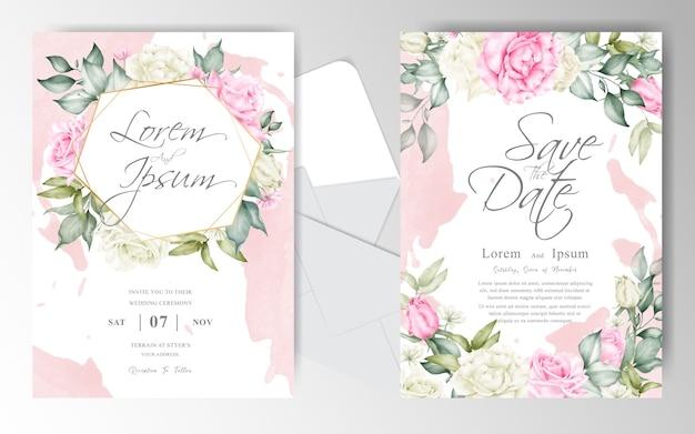 아름 다운 배열 꽃 수채화 결혼식 초대 카드 세트 템플릿 프리미엄 벡터