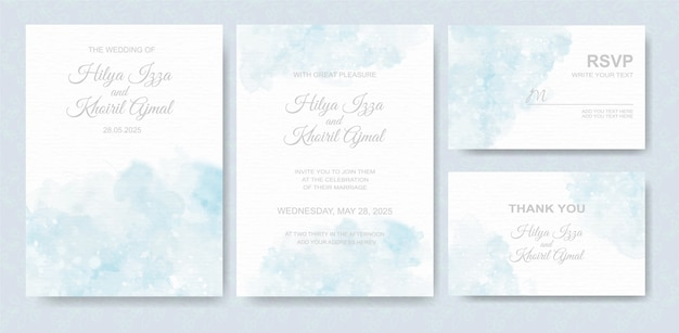 Watercolor wedding invitation card set Premium Vector