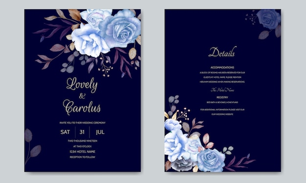 Watercolor wedding invitation card template with a flower and leaves Premium Vector