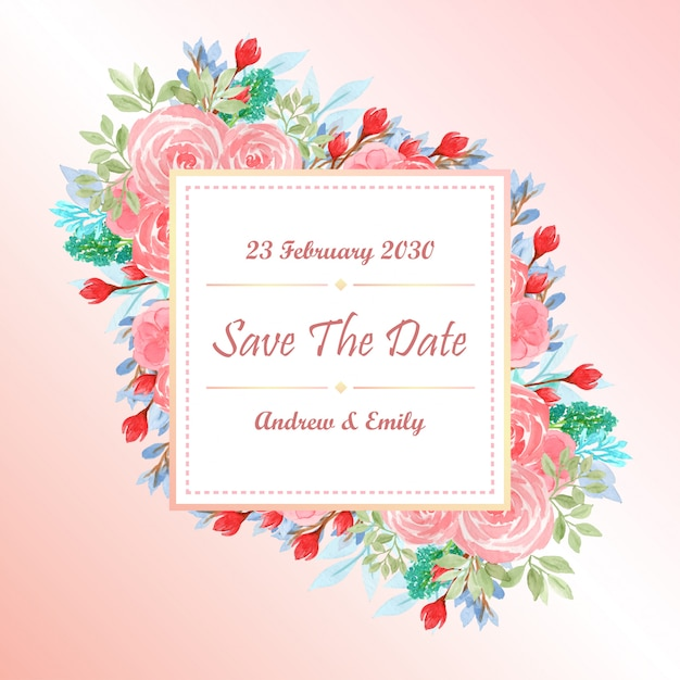 Watercolor wedding invitation card template with pink flowers Premium Vector