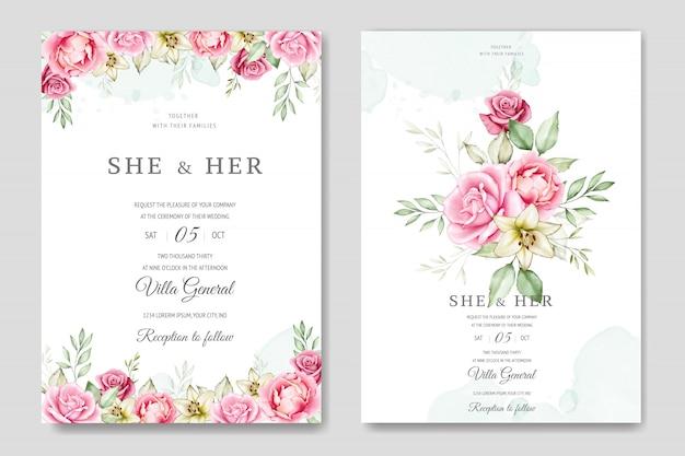 Watercolor wedding invitation card template Premium Vector