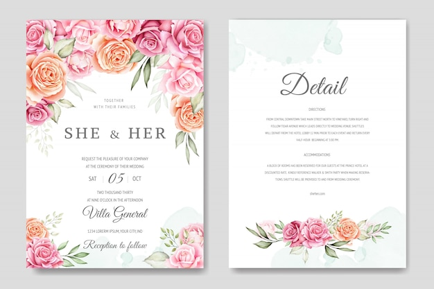 Watercolor wedding invitation card template Premium Vector
