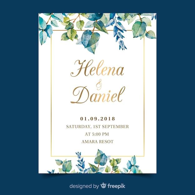 Watercolor wedding invitation card template Free Vector